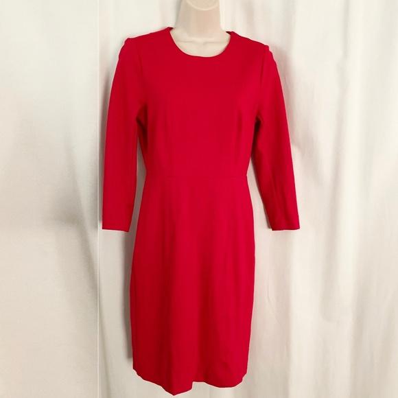 J. Crew Solid Red Zip Ponte Dress 3/4